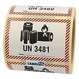 Labelident Transportaufkleber - enthält Lithium Ionen Batterien UN 3481-100 x 70 mm - 500 Verpackungskennzeichen auf 76 mm (3 Zoll) Rolle