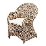 LEBENSwohnART Rattan-Sessel Charlotte Antique Grey mit Sitzkissen Stuhl Armlehnstuhl Rattan