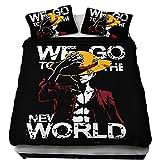 One Piece Bettwäsche 135x200, Ruffy Luffy Ace Zoro Law Sanji Nami Usopp Tony Chopper Anime Günstig Einzelbett Bettwäsche Set Jungen Mädchen Kinder 3D Druck Bettbezug mit Kissenbezug (93,135x200)