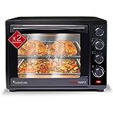Turbotronic/Minibackofen mit Umluft / 35l / schwarz / 1600W, Mini Backofen mit 2 Backblechen, Timer, Pizzaofen, Grill