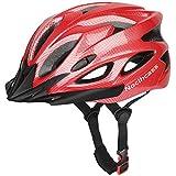 Fahrradhelm für Herren und Damen, Rennrad, Skateboard, BMX, Mountainbike, Erwachsene, Fahrradhelm mit Visier und -Pads, verstellbare Größe 57–62 cm, Rot