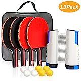 XDDIAS Instant Tischtennis Set, Tischtennisschläger/Schläger + Ausziehbare Tischtennisnetz + Bälle, Ping Pong Set Spiel Ideal für Anfänger, Familien und Profis (R1)