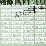 ULENDIS 40 Stück Alphabet Blumen Pflanzen Schablonen Auto Schablonen Kreuzfahrtschiffe und Tiere Wiederverwendbare Malvorlage Kunststoff Zeichenvorlage für DIY Handwerk Malen auf Holz oder Papier