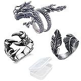PPX 3 Stücke Einstellbare Punk Rock Gothic Wolf Drachen Klaue Ring und Vintage Feder Ring und Chinesischen Drachen Shenlong Klaue Ring Für Männer Frauen Vintage Ringe Set mit Box