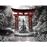Fototapete Buddha Wasserfall - Vlies Wand Tapete Wohnzimmer Schlafzimmer Büro Flur Dekoration Wandbilder XXL Moderne Wanddeko - 100% MADE IN GERMANY - 9331010