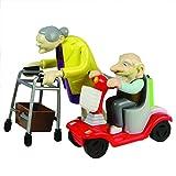 Bluw B00G1212 27470 Rennen Oma und Opa, Aufziehspielzeug, Kunststoff, 2er Set-das Grannies Geschenk für Großeltern Aufziehfiguren mit Rollator und Mobil