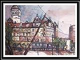 Leipzig Neues Rathaus 36x51 großes original Aquarell