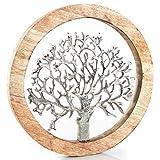 Logbuch-Verlag Wandbild Lebensbaum aus Holz & Metall 25 cm - Wanddeko zum Aufhängen braun Silber - W