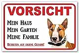 AdriLeo Schild - Vorsicht Bullterrier - Mein Haus - (40x60cm) / Hellbraun/weiß - Achtung Hund Wachhund