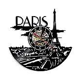 LED schwarz Gummi Uhr Paris Skyline Wanddekoration Paris Uhr Paris Schlafzimmer Dekoration Paris Wanduhr Französisch Reisegeschenk fü