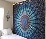 Raajsee Indisch Psychedelic Wandteppich Mandala Blau Turquoise / Elefant Boho Wandtuch Hippie/ Indien Wandbehang Queen baumwolle Tuch 82 x 92 I