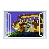 AMWFF Aufkleber Anime Cartoon 3D Mein Voisin Totoro und Chihiro, Wandtattoo, Vinyl, Totoro, Wandaufkleber, dekorativ, abnehmbar, 60 x 90 cm (09)
