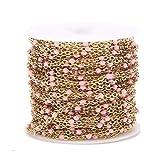 SS01 1 Roll / 10 Meter 2mm Breite Edelstahl vergoldet Satellitenkabel Perlen Kugelkette für Frauen Mädchen Halskette Machen Yc0408 (Color : Enamel Gold Pink)
