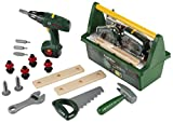 Theo Klein 8429 Bosch Werkzeug-Box I Mit Säge, Hammer, Zange und vielem mehr I Batteriebetriebener Akkuschrauber I Maße: 31 cm x 16,5 cm x 22,5 cm I Spielzeug für Kinder ab 3 Jahren