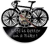 tuobaysj Wanduhr 3D Fahrrad Wanduhr Leben Besser Auf Fahrrad Art Deco Vintage Vinyl Schallplatte Zeituhr Kinderzimmer Wanddekoration 30X30Cm