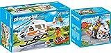PLAYMOBIL® City Life 2er Set 70048 70051 Rettungshelikopter + Notarzt-Motorrad mit Blinklicht