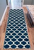 Well Woven Tinsley Trellis Teppich, marokkanisches Gittermuster, 60 x 220 cm, Dunkelblau