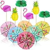 60 Stücke Cocktail Party Dekorationen, einschließlich 3D Flamingo Ananas Cupcakes Deckel, Papier Schirmstäbchen für Getränke in Gemischten Farben, Palmen Waben Tropische Fruchtdeckel