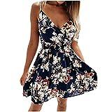 XUNN Damen Mode Sexy V-Ausschnitt Hohe Taille Blumen Sling Taille Kleid Kurzer Rock