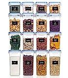 Vtopmart 16 Stück Vorratsdosen Set,Müsli Schüttdose & Frischhaltedosen, BPA frei Kunststoff Vorratsdosen luftdicht, 24 Etiketten für Getreide, Mehl, Zucker(Blau)