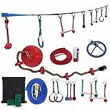 N \ A Ninja Slackline Hindernisparcours - 9 Zubehör - Ninja Warrior Trainingsgeräte für Kinder - Stark genug für Erwachsene - Slack Line Kit - Backyard Ninja Line