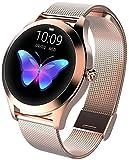Smart Watch KW10,Runder Touchscreen IP68 wasserdichte Smartwatch für Frauen, Fitness Tracker mit Herzfrequenz- und Schlaf-Pedometer,Armband Für IOS/Android (Gold Steel Strip)