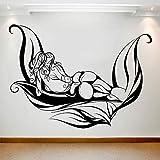 HGFDHG Schöne Mädchen Wandtattoo Blatt abstrakte Körperkunst Vinyl Fenster Aufkleber Spa Salon Massage Center Schlafzimmer Innendekoration Wandbild