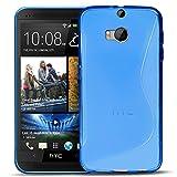 Conie SC6412 S Line Case Kompatibel mit HTC One M8, TPU Smartphone Hülle Transparent Matt rutschfeste Oberfläche für One M8 Rückseite Design Blau