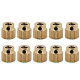 10pcs Zahnräder,Richer-R 3D Drucker Hochwertigen Messing Antriebszahnrad,Tragbar Leicht Extruder Zahnrad 5mm für 3D Drucker MK7 MK8 Extruder 26/40 Zähne Gold(26 Zähne)