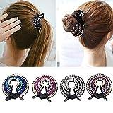 Pferdeschwanz-Haarklammern, für Mädchen, mit Kristallen, Pferdeschwanz, 4 Stück