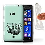 Handy Hülle kompatibel mit Nokia Lumia 625 Wildes Tier Faultier Skizze Transparent Klar Ultra Sanft Flexibel Silikon Gel/TPU Case Cover