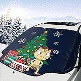 MOLLUDY Frontscheibenabdeckung Windschutzscheibe Auto Frontscheibe Abdeckung MIAU um den Weihnachtsbaum Magnetisch Frostabdeckung Sonnenschutz Schneeschutz