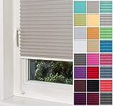 Home-Vision® Premium Plissee Faltrollo ohne Bohren mit Klemmfix Blickdicht Sonnenschutz Jalousie für Fenster & Tür (Grau, B25cm x H100cm)