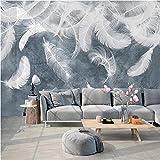 Benutzerdefinierte Fototapete für Wände 3D Weiße Feder Wandbild Kreative Schlafzimmer Wohnzimmer Sofa TV Hintergrund Wandkunst Dekor Tapete-400x280cm