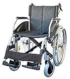 FabaCare Rollstuhl Alu Lexis Light, Leichtrollstuhl faltbar mit Trommelbremse, Steckachse, Transportrollstuhl bis 130 kg, Sitzbreite 42 cm