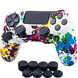 YoRHa Wasser Transfer Druck Tarnung Silikon Hülle Abdeckungs Haut Kasten für Sony PS4/slim/Pro Controller x 1 (Graffiti) Mit Pro aufsätze Thumb Grips x 8