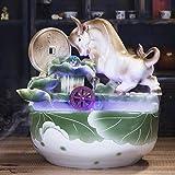 Zimmerbrunnen Glück Keramik Desktop-Brunnen Feng Shui-Rad-Wasser-Nebel-Keramik-Kuh-dekorative Brunnen Luftbefeuchter Aquarium-kreative tierisches Wohnzimmer Fertigkeit-Dekorationen Tischbrunnen