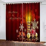 KJQTEN Verdunkelungsvorhänge 3D-Digitaldruckvorhänge Weihnachtskerze Vorhänge für Wohnkultur 2 Paneele 300x270cm (B x H) Mit Ösen Schlafzimmer Geräuschreduzierung Gardinen