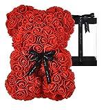 AZXU Rosenbär - Rosenteddybär auf jedem Blumenbär Vervollkommnen Sie für Jahrestag, Rosenbär, Mütter, die eingeschlossene klare Geschenkbox! 10 Zoll (red)