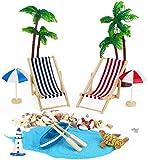 Adkwse Strand-Mikrolandschaft Mini Liegestuhl Sonnenschirm Palme Strand Deko DIY Geldgeschenk Reise Schildkröten Zubehö