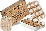 vegboo® Bambus Seifenschale Set - 100% Plastikfreie 2er Seifenhalter Box in Weiß mit Abtropfgitter und Sisal Seifensäckchen - ideal als Schale für Naturseife im Bad, Dusche, Küche & Reise