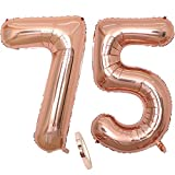Folienballon Zahl Deko Rose Gold 75 für Frau Frauen, XXL 100cm Riesen Nummer Aufblasbar Helium Ballon Figuren Zahlen Luftballons Geschenk für 75. Jahre Geburtstag Hochzeit Jubiläum Party Dekoration