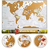 Weltkarte Zum Rubbeln mit Geschenkröhre - X-Large - 84x59 cm - Maps International - Über 50 Jahre in der Kartenherstellung - Kartografische Details mit Länder- und Staatsgrenzen