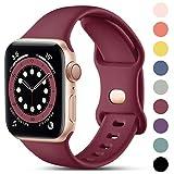 CeMiKa Kompatibel mit Apple Watch Armband 38mm 40mm 42mm 44mm, Ersatz Armband aus Silikon für Sport Armbänder Kompatibel mit iWatch Armband SE Series 6 5 4 3 2 1, 38mm/40mm-S/M, Weinrot