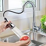 Wasserhahn Küche mit 360°Schwenkbar,Himimi Ausziehbar Küchenarmatur mit Brause Zwei Wasserstrahlarten,Mischbatterie Küche Edelstahl Gebürstet,100% Bleifrei und Nickelfrei, Einhand-Spültischbatterie