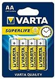 Varta Superlife AA Batterie (Zink-Kohle, 4er Blister, Niedrigstrom-Geräte, einfache Anwendungen wie Fernbedieungen, Wanduhren und Wecker)