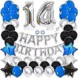 Ceqiny 14 Geburtstag Dekoration Happy Birthday Banner Luftballons Alles Gute zum Geburtstag Ballon Set Konfetti Helium Latex Stern Herz Folieballon Perfekte für Junge Männer, Blau Schwarz Silb