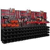 Werkstattregal Wandregal 1728 x 780 mm Stapelboxen rot schwarz Werkzeughalter Sichtlagerkästen Regalsystem (74 Boxen schwarz/orange)