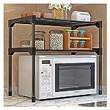 Küchenregal Arbeitsplatte Mikrowellenregal Stehend Mikrowellenhalter Standregal Gewürzregal Mit 2 Verstellbaren Ebenen Ablagen (Color : BLACK)
