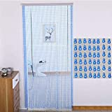 XHNXHN Wulstige Vorhänge aus Kunststoff Dekor Tür hängend Streicher-Panel Paravent Wohnzimmer Schlafzimmer Kürbis-förmigen Blau, Anpassbare (Größe: 90x200cm-75 Stränge)
